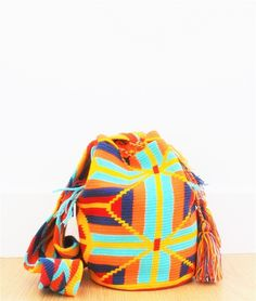 wayuu mochila bag orange aqua