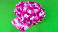 Gorra con visera tejido a crochet para niñas de 2 a 3 años - paso a cf843161cf6