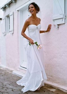 Soft Organza Gown with Ruched Empire Bodice - David's Bridal