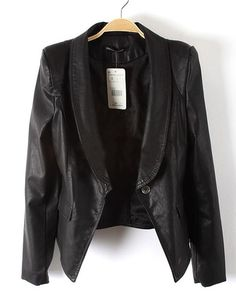 Black Long Sleeve Big Lapel One-Button Slim Fit Leather Jacket
