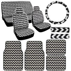 BPut your individual touch on the details in your life. This car interior set features a stylish chevron design for a look that's trendy and playful.