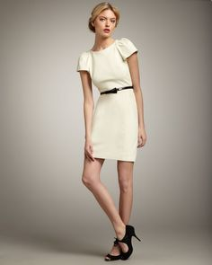 Milly Addison Puffsleeve Dress in White (ivory)