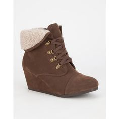 City Classified Nast Womens Booties ($37) ❤ liked on Polyvore featuring shoes, boots, ankle booties, brown, wedge heel booties, brown ankle booties, booties, fold over boots and wedge boots