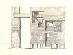'Tower 3' Sergey Mishin 2013, ink on paper, 20x30cm.