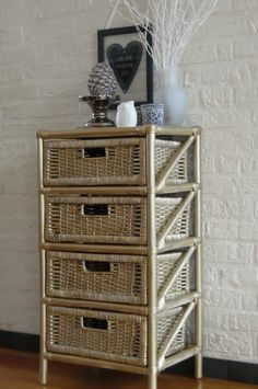 Upcycled Rattan Draws Sprayed With Gold Paint