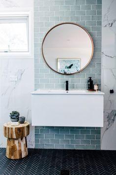 blue and marble tile bathroom #bathroom #tile #ideas