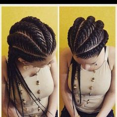 Ghana braids are growing in popularity and are a wonderful style. Check out these unique & hip styles of Ghana braids/Banana braids for your next braids hairdo! Ghana Braids Hairstyles, African Hairstyles, Braided Hairstyles, Cool Hairstyles, Hairstyles 2018, Stacked Hairstyles, Hairstyles Pictures, Ghana Braid Styles, Pelo Afro