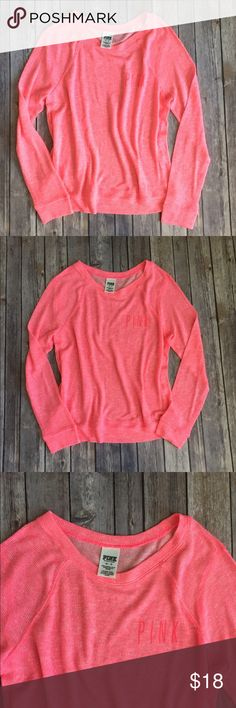 Pink Sweatshirt In good used condition. Small piling in a couple spots but not very noticeable. Feel free to make an offer. PINK Victoria's Secret Tops Sweatshirts & Hoodies