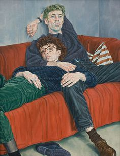 "huariqueje: "" Couple on a Red Sofa - Ralf Scherfose 1995 German Oil on canvas, 130 x 100 cm. Realistic Drawings, Art Drawings, Anatomy Art, Gay Art, People Art, Portrait Art, Portraits, Art Portfolio, Art Sketchbook"
