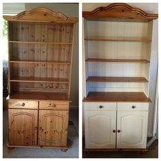 My Welsh dresser before & after. Painted using Annie Sloan chalk paint, colour - cream. Buy Annie Sloan Chalk Paint® from local stockist Brenda Brown @ Annex of paredown in Ann, Arbor Refurbished Furniture, Repurposed Furniture, Shabby Chic Furniture, Furniture Makeover, Chalk Paint Furniture, Furniture Projects, Diy Furniture, Welsh Dresser, Kitchen Dresser