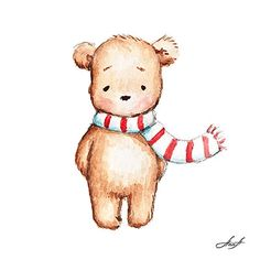 Anna Abramskaya - Gallery 'Illustration' Christmas Teddy Bear, Bear Illustration, Cute Bears, Printable Art, Bear Watercolor, Urso Bear, Sketch Inspiration, Painting For Kids, Cute Drawings