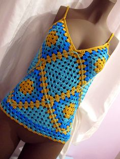 top crochet vintage granny square