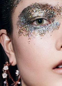 Yumi Lambert by Jem Mitchell for Vogue China June 2016: Bronze, Gold, Silver Glitter Eyemakeup @Coveteur