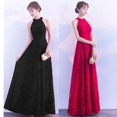 Buy Elmiko Lace Halter Evening Gown   YesStyle