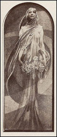 Alphonse Mucha - New Year - c1898 - mezzotint print   JV
