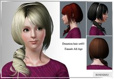 Emma's Simposium: Free Hair Pack #130 By Rose Sims3 - Donated/Gifted!!!