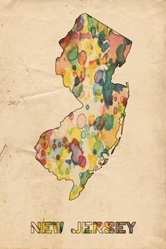 New Jersey Print featuring the painting New Jersey Map Vintage Watercolor by…
