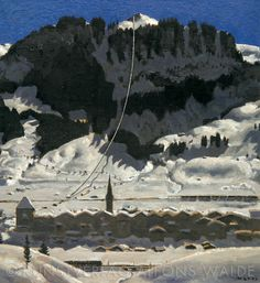 Alfons Walde - Hahnenkammbahn (1928) Bergen, Painters, Austria, Skiing, Landscapes, Mountain, Snow, In This Moment, Drawings