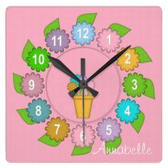 Felt Flowers Square Wall Clock PINK #zazzle #felt #clock #flowers #pastel http://www.zazzle.com/zazzlewallclocks