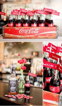 Red, black, neutrals cute flags on straws in coke... obviously leave out the alcohol