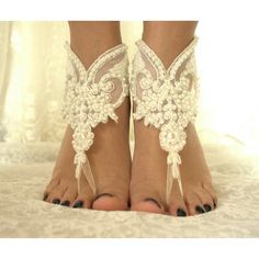 İvory lace.Barefoot Sandals, french lace, Nude shoes, Foot... ($25) ❤ liked on Polyvore featuring shoes, sandals, lace anklets, nude shoes, bridal footwear, bride shoes and lace sandals