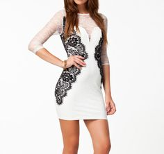 Sexy Round Collar Lace Splicing Color Block 3/4 Sleeves Bodycon Dress For Women (Sexy Round Collar Lace Splicing Color Block 3/4) by www.irockbags.com