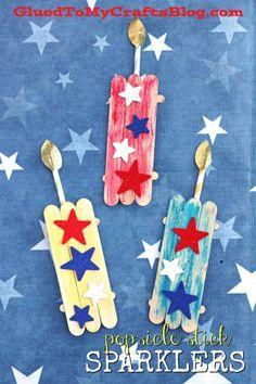 Popsicle Stick Firework Sparklers - Patriotic Themed Kid Craft Idea
