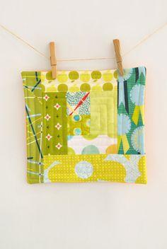 Modern green Mini quilt - mug rug - mat - Large Coaster- Candle Mat - Handmade Wall Art - scrappy log cabin - hostess gift