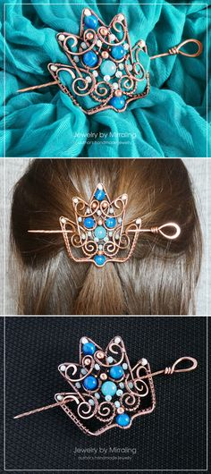 Wire Wrapped Hair Pin, Crown Hair Accessory, Brooch, Shawl Pin, Scarf Pin, Wire Wrapped Jewelry, Boho Hair Accessory, Cosplay Accessory #wirewrappin #wirewrapcrown #crown #cosplay #brooch #hairaccessory #copperpin #copperbrooch