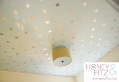DIY Starry Ceiling Tutorial, This is a good idea for the wall decals when we transition the baby from smaller room to bigger room.