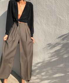 "e111d35ad67a Elia Vintage on Instagram  ""Amazing vintage Armani wide leg olive trousers.  Wool crepe fabric Size 29 waist  88 PANTS SOLD Gorgeous black open neck  blouse ..."