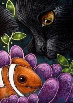 """Black Mermaid Cat Mercat with Clown Fish"" par Cyra R. Cancel"