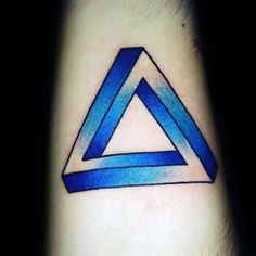Forearm Blue Ink Penrose Triangle Male Tattoo Ideas