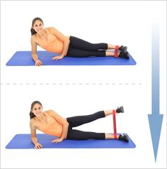 Resistance band exercises to build your lower body: Legs, hamstrings, glutes, quadriceps are the main focus. Build muscle and burn fat at home! Home Exercise Program, At Home Workout Plan, Workout Programs, At Home Workouts, Gym Program, Workout Ideas, Tone Inner Thighs, Outer Thighs, Hamstring Workout
