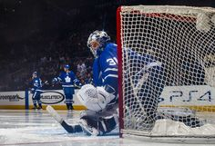 TORONTO, ON - MARCH 26: Frederik Andersen #31 of the Toronto Maple Leafs takes the net against the Buffalo Sabres during the second period at the Air Canada Centre on March 26, 2018 in Toronto, Ontario, Canada. (Photo by Mark Blinch/NHLI via Getty Images)