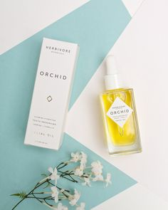 Overhead shot, small props, muted paper backgrounds | Orchid Facial Oil – Herbivore Botanicals