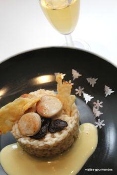 Risotto de fêtes au boudin blanc , truffe et champagne