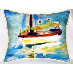 Betsy Drake Interiors Sailboat Indoor/Outdoor Lumbar Pillow