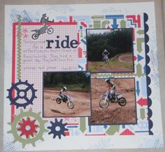 Great guy page--lots of motion Multi-photo Scrapbooking Layouts Gallery: Challenge entries....