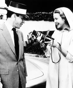 Grace Kelly taking Frank Sinatra's photo with a Hasselblad