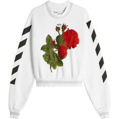 Off-White Embroidered and Printed Cropped Sweatshirt (7.972.990 IDR) ❤ liked on Polyvore featuring tops, hoodies, sweatshirts, white, cut-out crop tops, off white sweatshirt, cropped sweatshirt, embroidered sweatshirts and graphic print sweatshirts