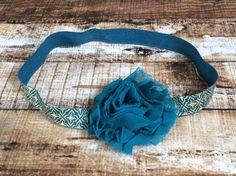 Dark Jade Shabby Flower on Dark Jade Green and Gold Moroccan Elastic Headband by PinkSunshinePretties on Etsy