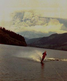 May 18th 1980 this person casually jet skiing with St. Helens erupting behind them