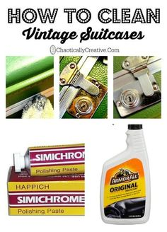 Clean Vintage Suitcases How to Clean Vintage Suitcases - Chaotically CreativeHow to Clean Vintage Suitcases - Chaotically Creative Deep Cleaning Tips, Cleaning Solutions, Cleaning Hacks, Cleaning Products, Vintage Suitcases, Vintage Luggage, Vintage Suitcase Decor, Vintage Market, Upcycled Vintage