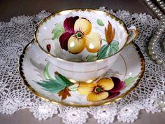 Tuscan Tea Cup and Saucer Yellow Pansies