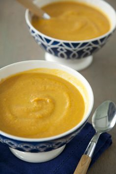 Paula Deen Creamy Pumpkin Soup. I'm going to try it with coconut milk and veggie broth for a vegan alternative.