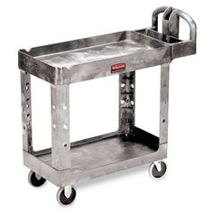 RUBBERMAID Heavy-Duty Tray-Shelf Carts - Gray by RUBBERMAID®. $179.00. Ships unassembled to save freight costs-universal uprights make set up quick and easy. RUBBERMAID Heavy-Duty Tray-Shelf Carts handle both industrial and commercial loads. Structural foam construction includes a leakproof top with rounded corners to protect walls, furniture, and equipment. Ergonomically shaped handle includes cord hooks, a drill/mallet rest, and tool slots. The top shelf has two V-notches to...