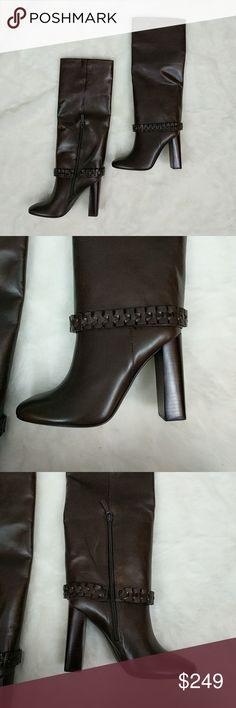 """New Tory Burch Knee High Sarava Boot Soft and luxurious Sarava boot from Tory Burch in Glabra Nut (dark brown). Boots have beautiful design and hidden inside zipper. Shoes are new, but have minor sticker residue on soles. Boots have 4.25"""" heel. Shoes do not come with box or dust bag. Tory Burch Shoes Heeled Boots"""