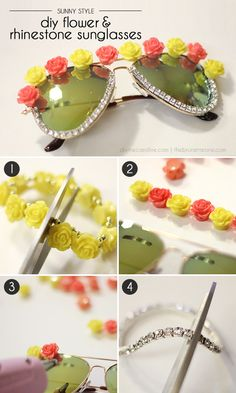 015be336a8 Create your own festival-worthy sunglasses using inexpensive jewelry bits.   heritagecollection Flower Sunglasses