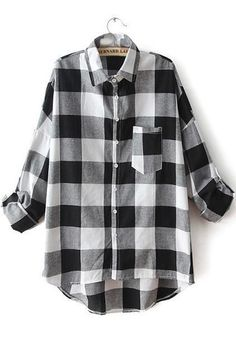 Black White Lapel Plaid Pocket Blouse pictures